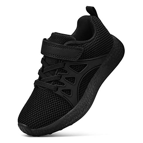 SouthBrothers Boys Black Sneakers Breathable Lightweight Casual Running Sneakers for Kids Girls Black 12