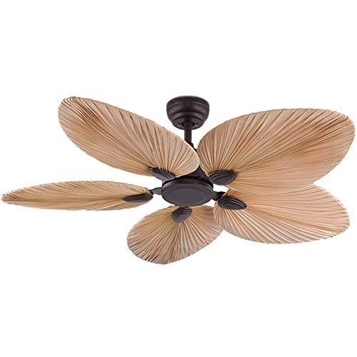 N / A Rustikales 5-Klingen-Deckenventilator, Fern Decke Retro-Stil Schmiedeeisen Palmblatt Fan Innenhauptdekoration A 52inch / 132cm