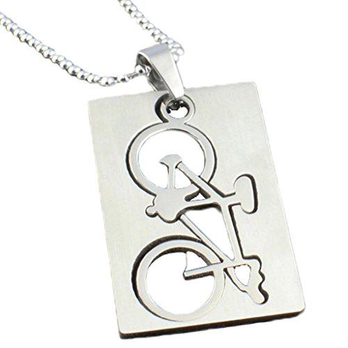 AmDxD Schmuck Edelstahl Unisex Mode Anhänger Halskette Fahrrad Form Weiß Kette 24 Zoll