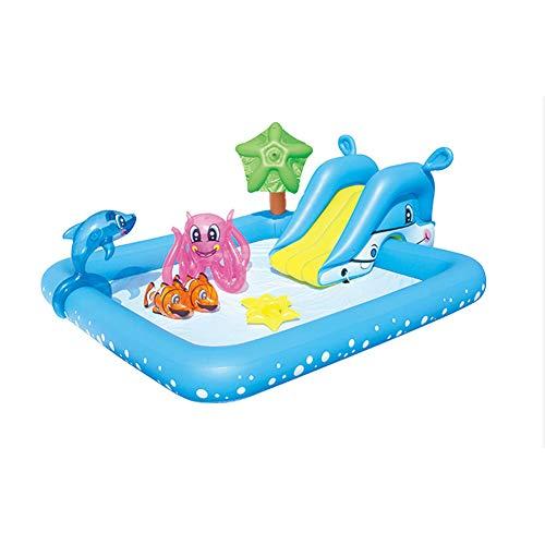 JESU Aufblasbarer Pool Kinder mit Rutsche, Kinderpool Swim-Center Family Lounge Pool, Play Center Wasserspielcenter,239x206x86cm(94x81x34in)