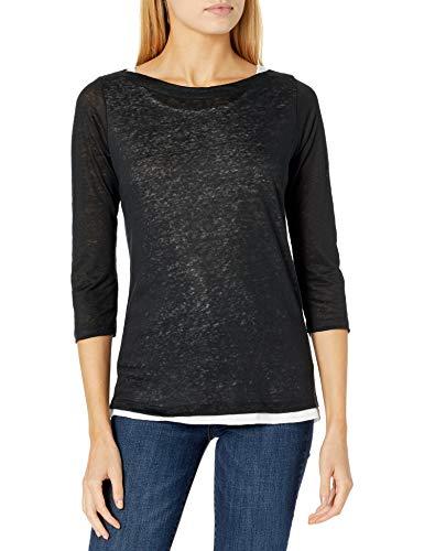 Majestic Filatures Damen Short Sleeve Double Layer Boatneck T-Shirt, 002. Noir, 34