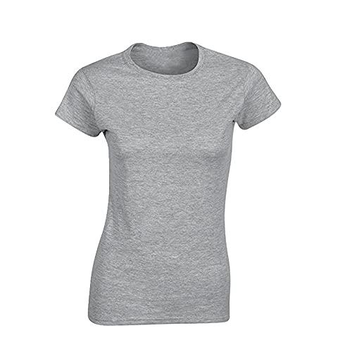 Camisa lisa de las mujeres de algodón elástico femenino Casual Tops manga corta