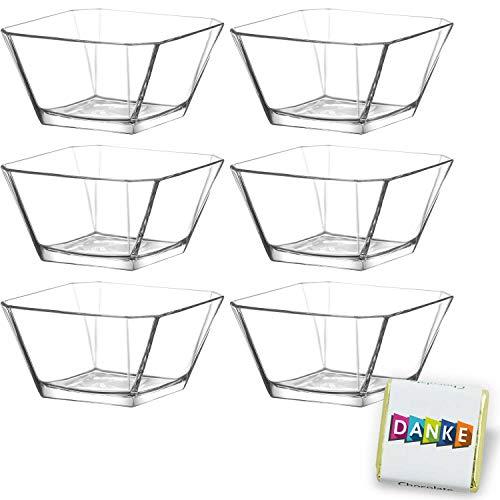 6 Stück Glasschalen im Set, Design Snack Schalen für Frühstück, Party, Vorspeise Glasschale, Dessertschale, Knabberschale aus Glas, 300ml Gläser, lebensmittelechte Müsli Glasschüsseln Karen