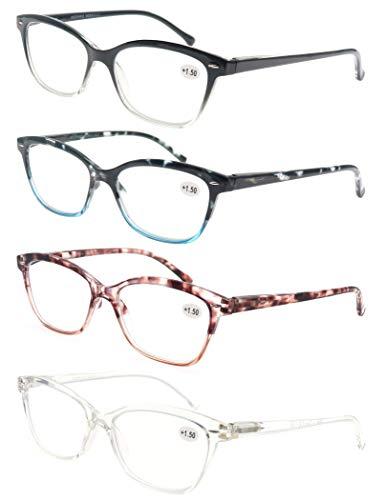 MODFANS (4 Pack) Lesebrille 2.0 Katzenauge Damen,Gute Brillen,Hochwertig,Mode,Komfortabel,Super Lesehilfe,fur Frauen