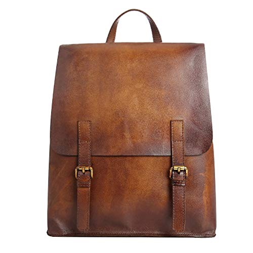 Zaino vintage in vera pelle fatta a mano Brush-Off Laptop zaino unisex grande borsa da viaggio casual Daypack College Bookbag Messenger Bag, Marrone