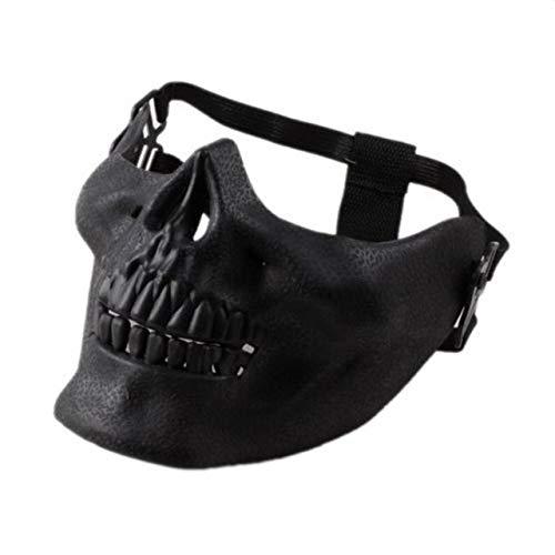 Minch Scary Mask Disfraz de máscara de Esqueleto de Calavera de Halloween Máscaras de Media Cara para Fiesta CospalyBlack