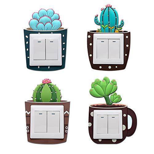 LdawyDE Adesivi per Interruttori Bambini 4 Pezzi 3D Cartoon Pianta in Vaso Adesivo Interruttore Luminoso Lavabile Adesivi Murali Interruttore Luce per Decorazioni per La Casa, 8,6 * 8,6 CM