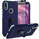 Sunbrightful for Alcatel 3V 2019, Heavy Duty Drop Protection Defender Kickstand Ring Case with Tempered Glass Screen Protector for Alcatel 3V 2019 - Blue cases alcatel Mar, 2021