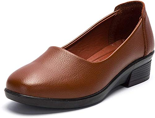 [Nomioce] レディースシューズ ナースシューズ レディース安全靴 パンプス ウォーキングシューズ 通勤 モカシン 軽量 疲れにくい 長時間立ち仕事 大きいサイズ 履きやすい ブラウン 24.0cm