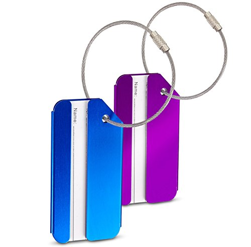 SWISSONA Luggage Tags, Set of 2 in Blue and Purple, Clearly Identify Your Suitcase, Handbag, Travel Bag | Label Accessory, Sturdy Metal ID Baggage Tags