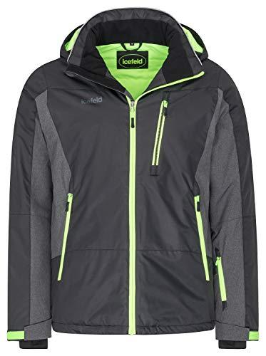 icefeld Herren Winterjacke/Skijacke/Snowboardjacke schwarz/grün-Gecko in Größe L