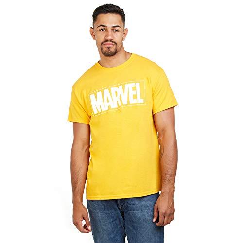 Marvel Text Logo Camiseta, Amarillo (Gold Gld), XX-Large para Hombre