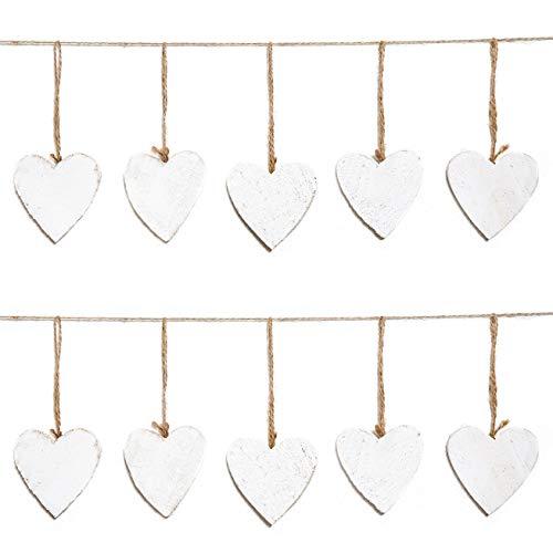 10 weiße Holzherzen HERZ HOLZ zum Aufhängen Osterdeko Osteranhänger Schnur Herzanhänger Herzhänger 7 cm Hochzeitsdeko Hochzeit Kinder Bemalen Basteln Deko