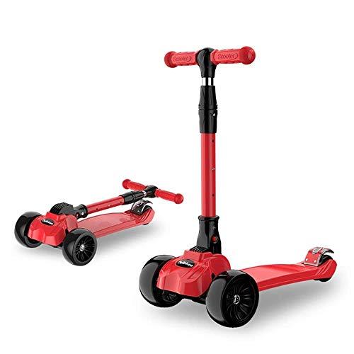 LQLQL Scooter de Patinaje para niños con agarraderas de Barra con Cubierta de 3 Ruedas Asiento Plegable extraíble Sit-or-Stand, Rojo