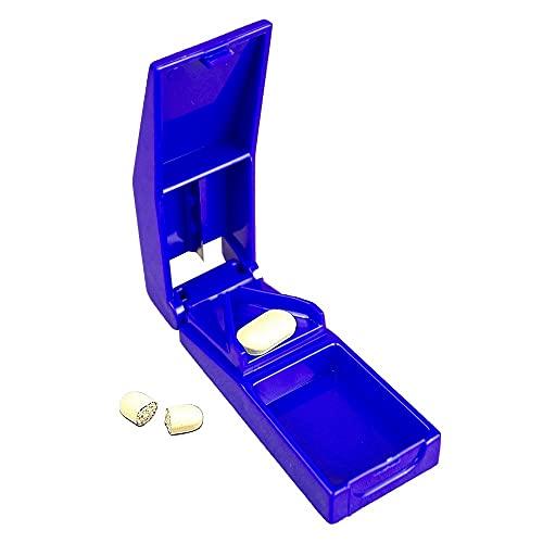 Mobiclinic, Cortador o divisor de comprimidos, medicamentos, pastillas, con contenedor, Azul