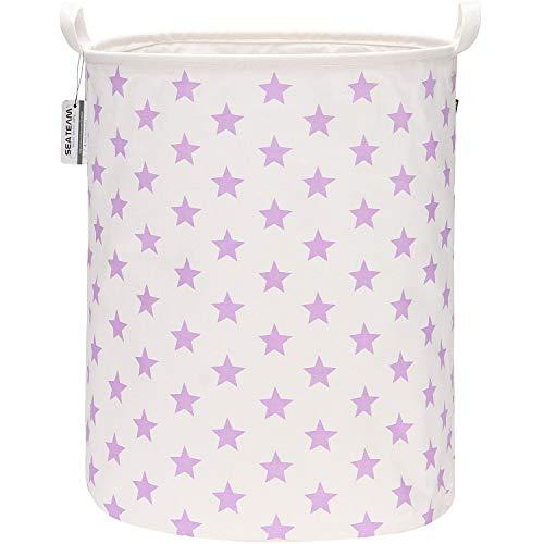 Sea Team 19.7 Inch Large Sized Waterproof Coating Ramie Cotton Fabric Folding Laundry Hamper Bucket Cylindric Burlap Canvas Storage Basket with Stylish Purple Design (Purple Star)