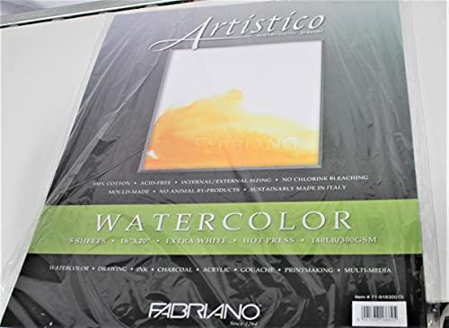 Fabriano Artistico 140 lb. Hot Press 5-Pack 16x20' - Extra White