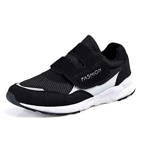 Leader Show Women's Casual Comfortable Walking Shoes Safety Flats Non-Slip Hook & Loop Sneakers (10, Black)