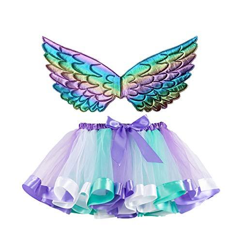Andouy Mädchen/Baby Tutu Tüll Ballett Rock Prinzessin Ankleiden Tanzen Tragen mit Flügel Zubehör(L.Lila-1)