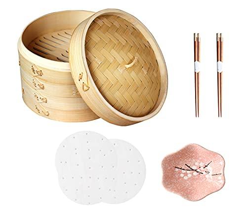 GYAM Piroscafo in bambù, Piroscafo per Alimenti Fatto A Mano da 10 Pollici, Riso Verdure Carne, 2 Paia di Bacchette 1 Piatto 100 Fogli di Carta per Il Vapore