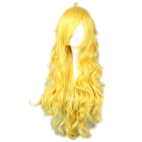 COSPLAZA Cosplay Wigs Long Curly Wavy Long Yellow Lovely Full Hair For Girls