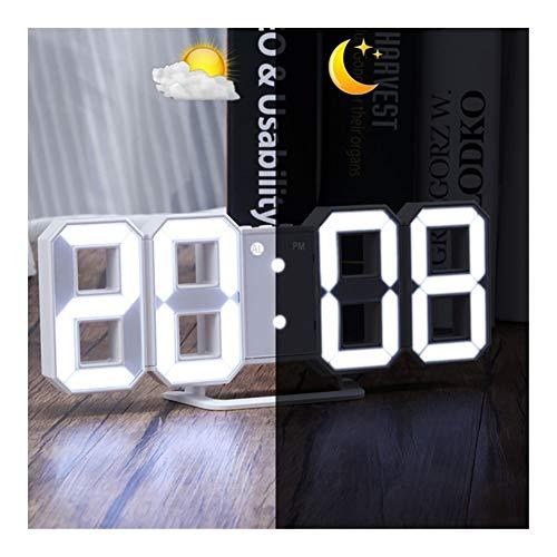 DYHM wecker Digitale Grote 3D Wekker Witte LED-Anzeige Digitale Nummers Wandklok Met 3 Niveaus Snooze Klok USB Kabel