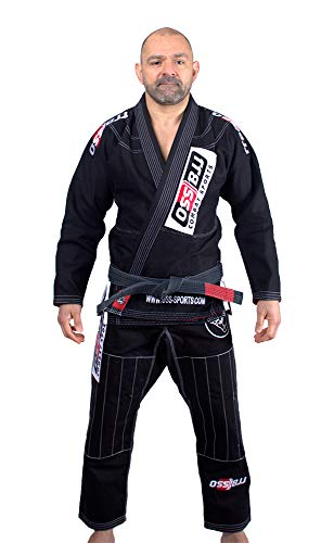 OSS Combat Sports BJJ Gi - Kimono de Jiu Jitsu Brasileño - Jujitsu Gi - Collar Resistente a roturas - Manga Reforzada y diseño cómodo - BJJ Gi Tallas A2 y A3 (Negro, A4)