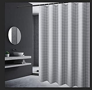 OTraki シャワーカーテン 120×180cm 格子縞 防カビ 防水 風呂 カーテン チェック柄 ユニットバス 180CM丈 目隠し 浴室カーテン バスカーテン グレー 速乾 リング付き 洗面所 間仕切り バス用品 プライバシー保護 灰色