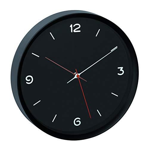 TFA Dostmann Analoge Wanduhr, 60.3056.01, geräuscharmes Sweep-Uhrwerk, Glasabdeckung, schwarz, L315 x B50 x H340 mm