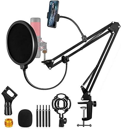 Einstellbare mikrofon arm, Profesionelle Mikrofonständer mit Spinne und Adapter, Popschutz für Studio Programm, Aufnahme Rundfunk Fernsehsender, Kompatibel mit Blue Yeti, Rode NT USB, Auna mic