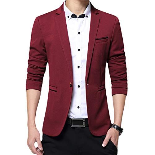 Allthemen Mens Casual Blazer Slim Fit 1 Button Formal Business Suit Jackets Single Breasted Wedding Tuxedo Smart Blazer Wine Red XL
