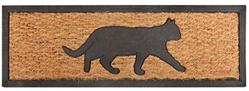 Esschert Design RB170 Katze Tür-/Stufenfußmatte, Kokosfaser, Gummi, schwarz/braun, 75 x 25 x 0.9 cm