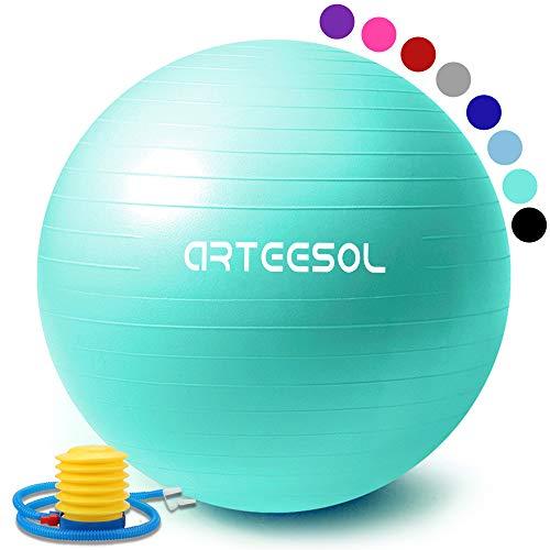 arteesol Gymnastikball 55cm/65cm/75cm Schwangerschaft Yoga Ball Auti Burst Core Blance Ball mit Schnellpumpe für Pilates Training Fitness Geburt (Meerblau, 55cm)