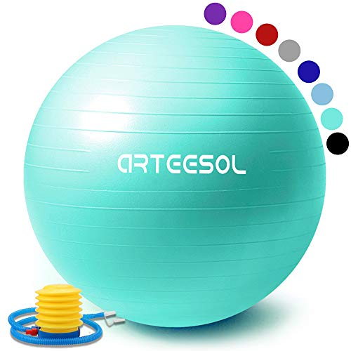 arteesol Gymnastikball, Balance Ball 65cm/75cm Yoga Ball mit Pumpe Anti-Burst Fitness Balance Ball für Core Strength (Meerblau, 65cm)