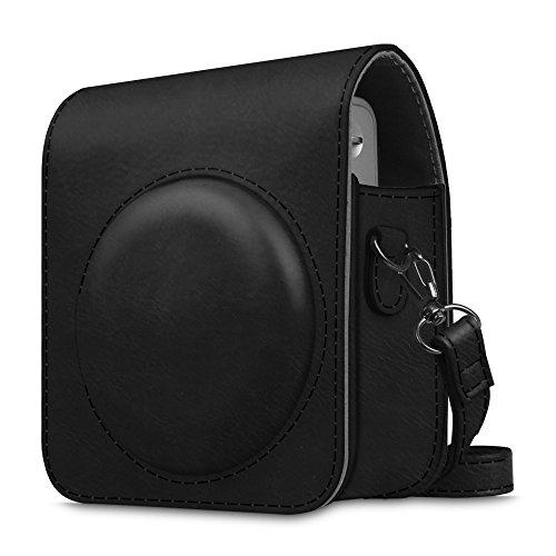 FINTIE Custodia per Fujifilm Instax Mini 90 - PU Custodia Borsa In Pelle per Fujifilm Instax Mini 90 Fotocamera Istantanea, Nero