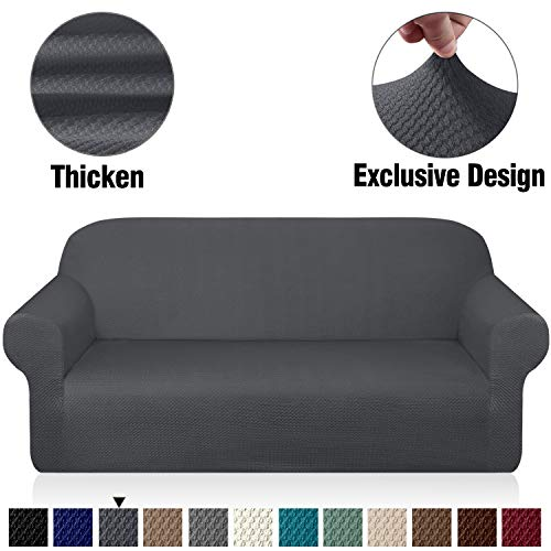 Granbest Thick Sofa Covers for 3 Cushion Couch Stylish Pattern Couch Covers for Sofa Stretch Jacquard Sofa Slipcover for Living Room Dog Pet Furniture Protector (Large, Gray)