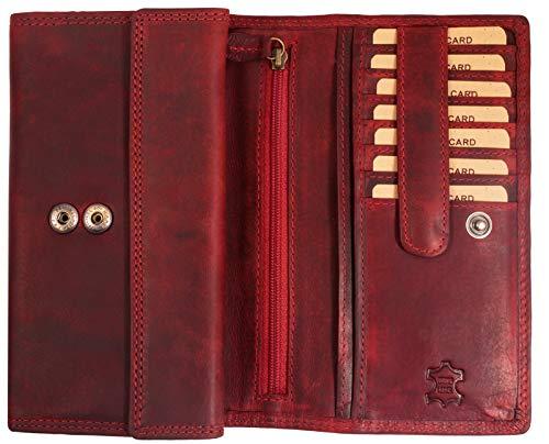 Hill Burry Damen Geldbörse | XXL Echt Leder Brieftasche - Vintage Langes Portemonnaie - RFID (Rot)