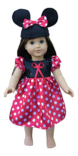 in-Style Compatible with American Girl Doll Clothes Accessories for 18 inch Dolls Minnie Mouse Dress with Mickey Mouse Ears hat (Minnie Mouse red)
