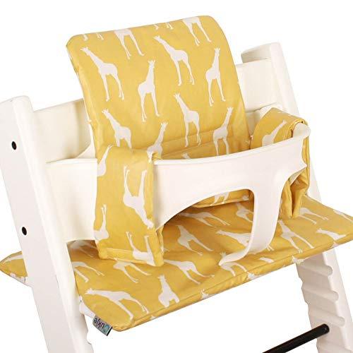 Beschichtetes Sitzkissen Sitzverkleinerer Kissen von UKJE für Stokke Tripp Trapp Beschichtet Praktisch und dick gepolstert Gelb Giraffe Maschinenwaschbar 2-teilig Öko-Tex Baumwolle