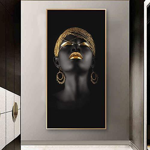 Schwarze Frau mit Goldkopfschmuck Leinwand Pintings an der Wand Kunst Poster und Drucke Porträt der afrikanischen Frau Kunst Bilder Dekor 40x80cm