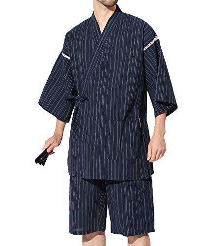 JIGGYS SHOP 甚平2点セット (甚平上下 扇子) メンズ 甚平上下セット しじら織り 綿100% 和服 S 藍夜雨