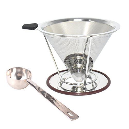 Nicelucky Pour Over Coffee Dripper, Stainless Steel Coffee Maker with Mesh Bottom - Drip Coffee Cone & Brewer - Non-Electric Reusable Paperless Coffee Filter - Makes 4 Cups of Coffee