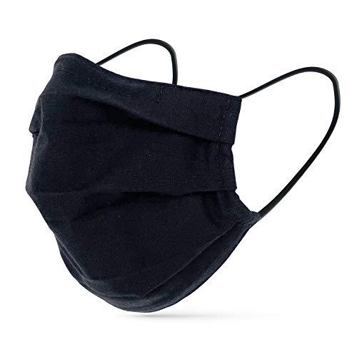 tanzmuster ® Behelfsmaske waschbar für Erwachsene - 100% Baumwolle OEKO-TEX 100 mit Nasenbügel und Filtertasche - Community Maske handmade und wiederverwendbar 2-lagig in schwarz Größe M/L