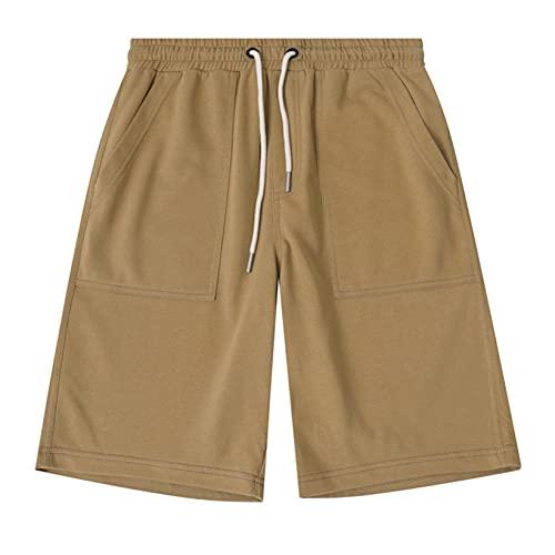 Pantalones de salón Ligeros para Hombre, Pantalones de Jogging para Ropa de Daliy, Pantalones Cortos de Verano Transpirables con Cintura elástica y cordón