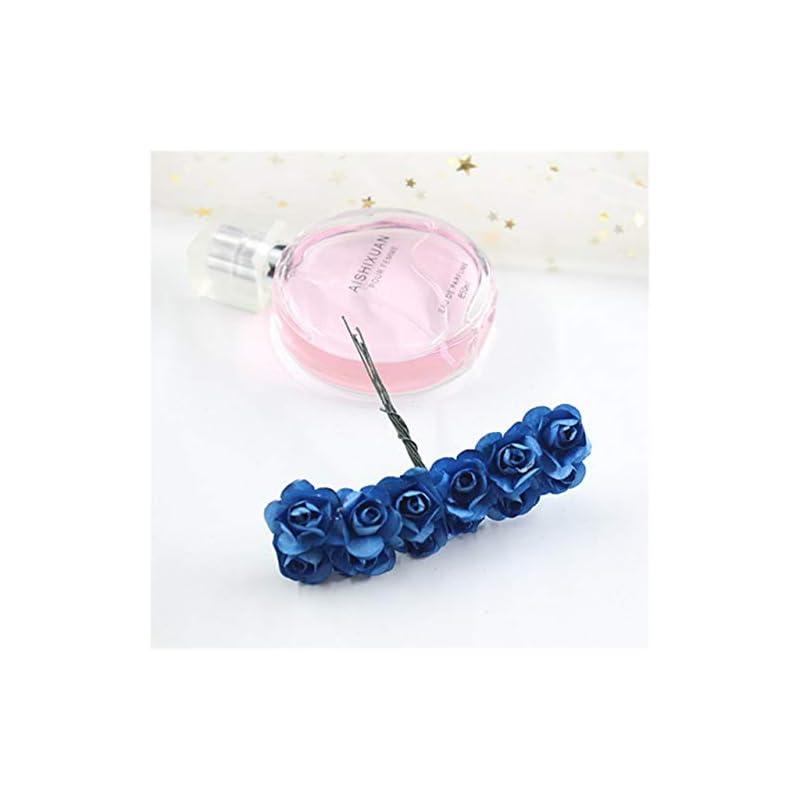 silk flower arrangements 12pcs / lot 1.5 cm artificial small paper rose handmade party supplies car decoration flower,deep blue