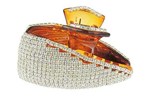 Glamour Girlz Extra Sparkly Large 9,5 cm Diamante Crystal Hair Claw Pinza Triangolo Pendenza (marrone)