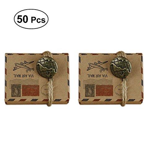 LUOEM Boda temática del favor del viaje caja del caramelo Caja del favor del diseño del correo aéreo del vintage inspirado con el globo Bolas del papel del embalaje de Kraft favores de boda cajas de regalo, paquete de 50