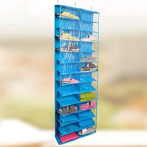 Organizador de zapatos para colgar sobre la puerta, con 26 bolsillos para zapatos, zapatero, ganchos plegables, para armarios, etc., azul