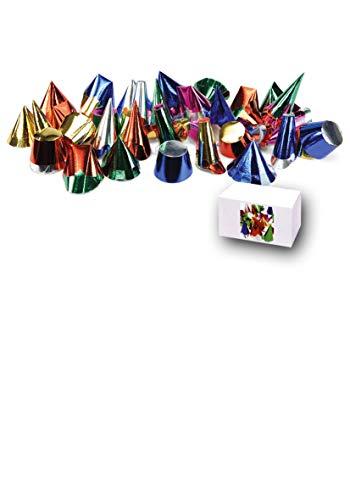 Carnival Toys 100 Mignon gemetalliseerde hoeden van papier H cm 5/9 Ca MOD. 387, meerkleurig, 8004761044213