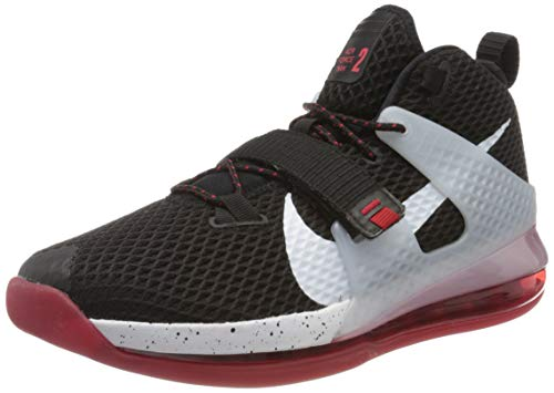 Nike Herren AIR Force MAX II Basketballschuh, Schwarz Black White Univ Red Wolf Grey, 43 EU